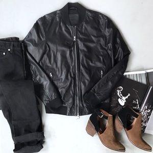 All Saints Mower Bomber Leather Jacket